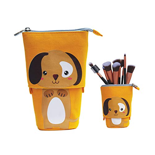 Telescopic Slidable Dog Case for Stationery Pencils Pens Makeup iPhone/Android Phones Gadget Accessories Pouch (Mustard Yellow)