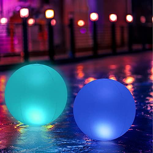 KWODE Beleuchtung für Schwimmbecken, LED, 40 cm, wasserdicht, schwimmend, IP68, LED-Nachtlicht, Farbwechsel, Außenbeleuchtung, mit Fernbedienung, für Party, Pool, Hochzeit, Garten [2 Stück]