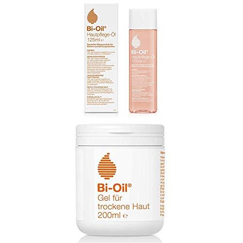 Bi-Oil Hautpflege-Öl, Spezielles Pflegeprodukt für Narben & Dehnungsstreifen (125 ml) + Gel Für Trockene Haut, 1er Pack (1x 200 Ml)