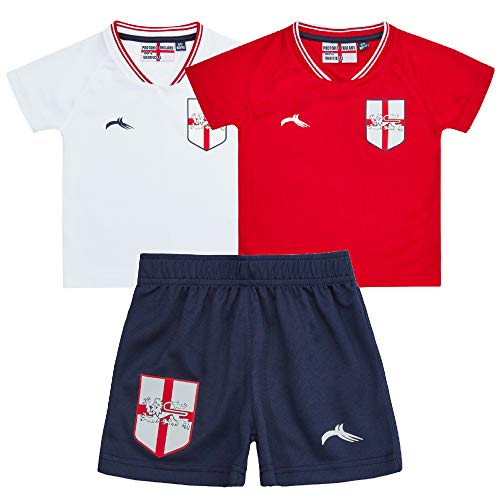 Metzuyan Kids Babies Babies England Football Soccer T-Shirt 3 Pieces Set...