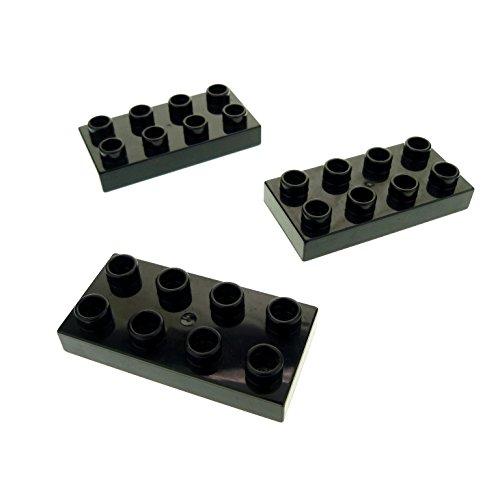 3 x Lego Duplo Bau Basic Platte schwarz 2x4 Stein für Set 4785 4779 4777 6134 5601 40666