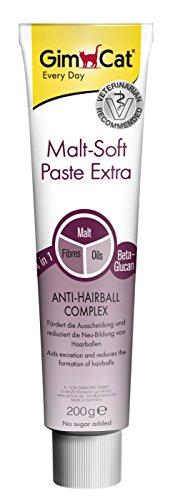GimCat pasta Malt-Soft Extra , Aperitivo para gatos de fibra de origen vegetal con efecto antibolas de pelo , 1 paquete (1 x 200g)