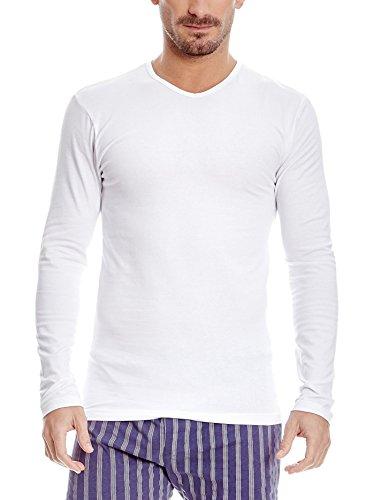 ABANDERADO Abanderado CAMISETA ALGODÓN MAXIMA TRANSPIRACIÓN de manga larga y cuello redondo para hombre - chemise - Homme, Blanc, EG/56/XL