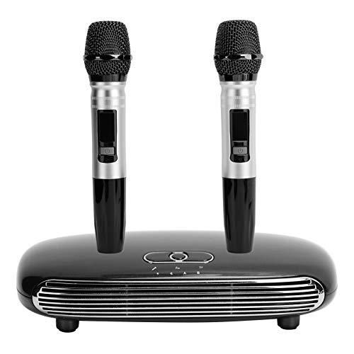 Micrófono de karaoke para el hogar, micrófono inalámbrico Bluetooth 5.0, sistema de mezcla de eco de micrófono coaxial de fibra K8 con caja de karaoke, sistema de cine en casa(Enchufe de la UE)