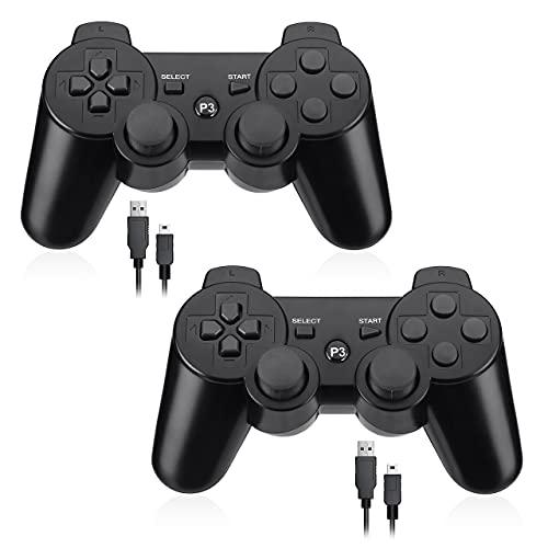PS3 コントローラー ワイヤレス ゲームパッド Bluetooth 振動機能 PS3 ワイヤレスコントローラー 2個セット ブラック