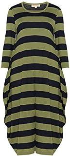 Isolde Roth Plus Size Dress Klara Knitted Striped Bubble Dress - Knee Length - Ladies - Women - Casual - navabi
