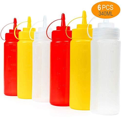6 Biberon Salsas con Tapas de Rosca, 340ml (Rojo Transparente Amarillo) - Dispensador de Botellas de Plástico para Condimentos Ketchup Mostaza Vinagre Salsa Aceite - a Prueba de Fugas y Libre de BPA