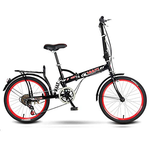20 Inch Folding Bike,Mountain Bike, Carbon Steel Lightweight Portable Suspension Variable Speed Bike Bicycle with Disc Brakes, Road Bikes for Office Worker Students-Black red B-Single Speed