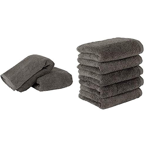 Towel Laboratory [Volume Rich] #003 Bath Towel/Face Towel, Charcoal Gray, Set of 2 + 5 Pieces] Fluffy, Hotel Specifications, Fast Absorption, Fluffy, Fuzzless, Durable, Popular, 5 Colors to Choose from Japan Technology