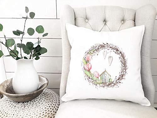 'N/A' Funda de almohada de primavera con diseño floral de acuarela rosa corona de almohada de Pascua decoración de primavera funda de cojín para el hogar sala de estar caffe tienda decoración
