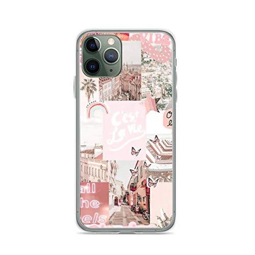 TPU Phone Case Pink Dreams Aesthetic Vsco Vogue Collage Compatible with iPhone 12 12 Pro Max 11 11 Pro max XR X/Xs SE 2020/7/8 Plus 6/6s Plus 6/6s