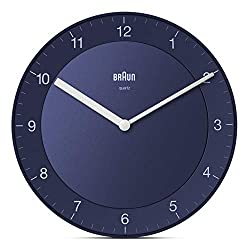 Braun Classic Analogue Wall Clock with Quiet Quartz Movement, Easy to Read, 20cm Diameter in Blue, Model BC06BL.
