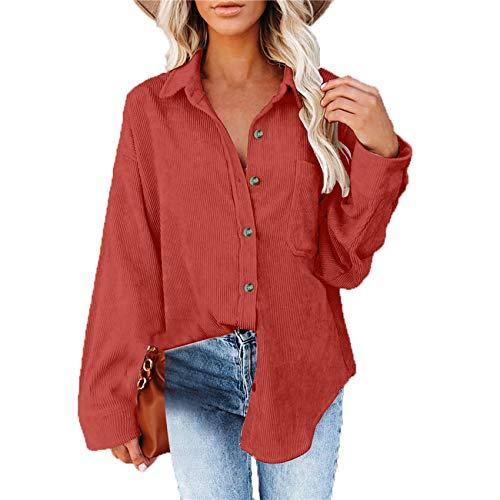 Camisa Holgada De Hilo Viejo De Color SóLido para Mujer OtoñO E Invierno De Manga Larga Informal Urbano Top De Pana para Mujer