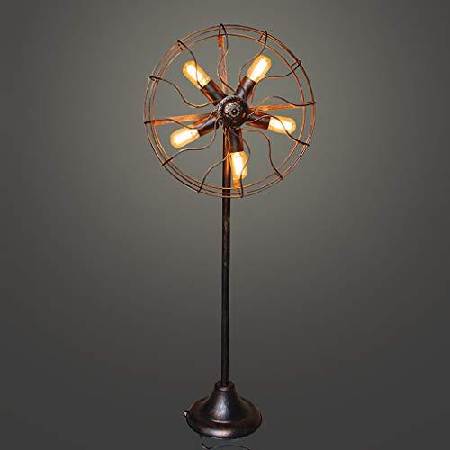 JLXW Vintage vloerlamp voor de woonkamer, 5 lampen, retro industriële stijl, hoge stang, staande lamp voor slaapkamer, kantoor, coffee, shop, 4W torchiere lampbevestiging