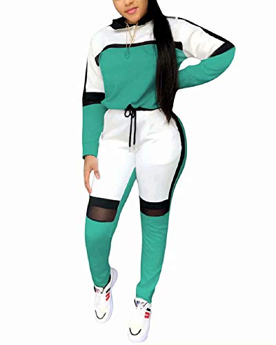 Women Casual Sweatsuit Two Piece Outfits Patchwork Net Color Block Pocket Hooded Top Pant Set Jogger Tracksuit Green XXL