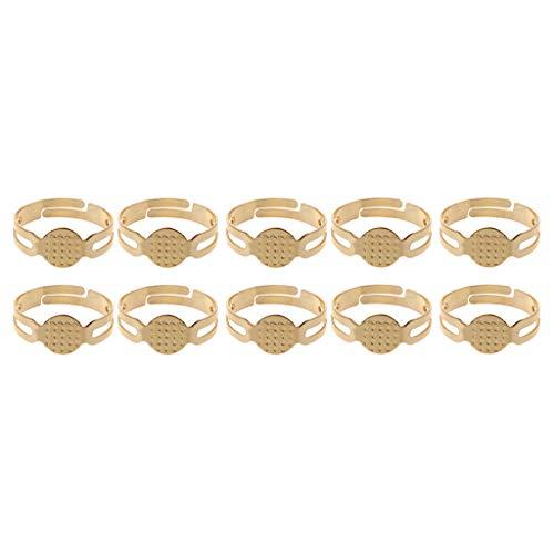 HELYZQ 10 peças/lote de 8 mm base de anel plano de metal branco achados cola no bloco faça-você-mesmo fabricação de joias