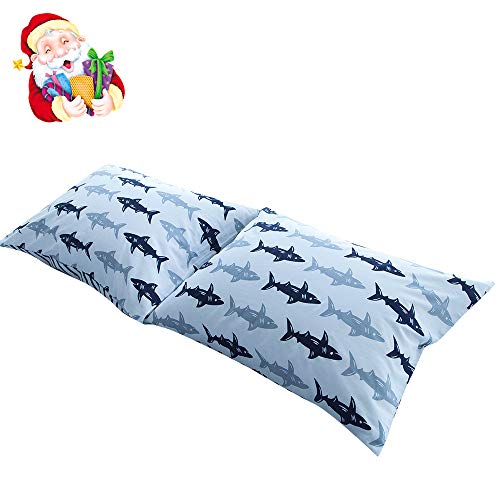 BuLuTu Cotton Navy/Grey Shark Print Bed Pillowcases Set of 2 Queen White Fish Pillow Covers Decorative Standard For Boys Girls Envelope Closure End-Premium,Breathable,Hypoallergenic (2 Pieces,20