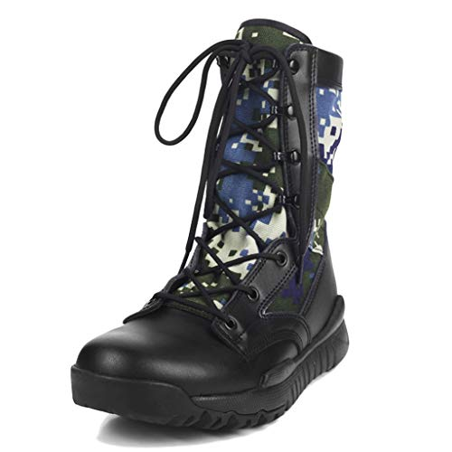 Wygwlg Hommes Militaire Bottes de Combat Cheville Armée Chaussures Casual Randonnée en Plein Air Désert Patrouille Haute Top Marche Escalade Sneakers,Black-40