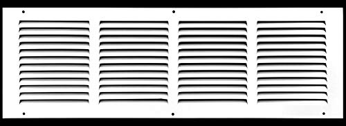 """24""""w X 6""""h Steel Return Air Grilles - Sidewall and Ceiling - HVAC Duct Cover - White [Outer Dimensions: 25.75""""w X 7.75""""h]"""