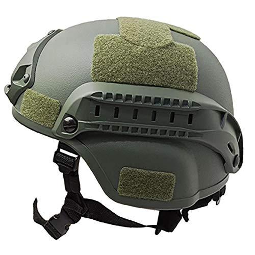 Al aire libre ajustable acolchada Casco hábil con NVG Monte y del carril lateral para Airsoft Paintball Caza de disparo (verde) del ejército Para el disparo