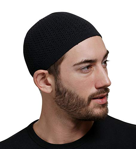 Elastic Kufi Hat Skull Cap with Wavy Threading in Multiple Designs and Colors (Black)