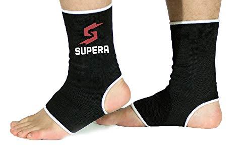 Supera Fußbandage für mehr Schutz beim Sport. Elastisch Bandage stütz das Fußgelenk. Die Sprunggelenk Bandage für Kickboxen, Muay Thai oder Laufen. 1 Paar - Zwei Fußgelenkbandagen.