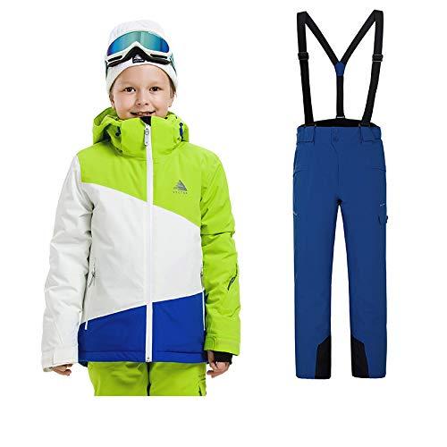 Sunbaby Skianzug Kinder Jacken und Hosen Winter Ski Set Winddicht wasserdicht Skianzüge (Junge Grün+Marine, 120/6 Jahre)