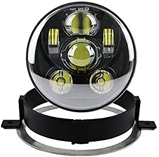 Atubeix 5.75 inch Round LED motorcycle Headlight with Ring Mounting Headlight Bracket Fit for 2002-2009 Honda VTX 1300 & Honda VTX 1800 (BLACK)