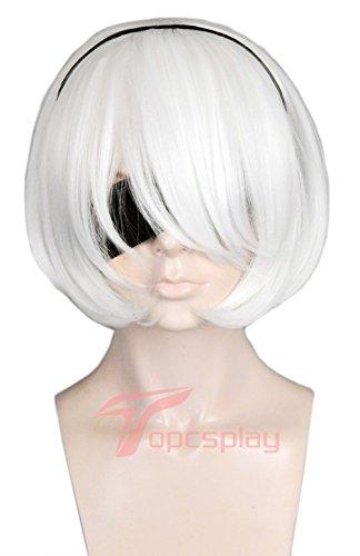 Topcosplay Women's Short Wig White Halloween Costume Cosplay Wig with Long Bangs