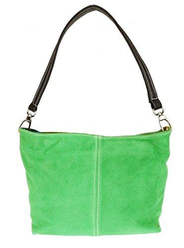 Girly Handbags Wildleder Umhängetasche Henkeltasche italienisch Tasche (Hellgrün)