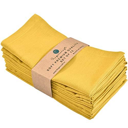 FINGERCRAFT - Servilletas de tela de lino de algodón, 12 unidades, calidad premium, esquinas ingleteadas para uso diario, las servilletas son preencogidas y de buena absorción, color limón