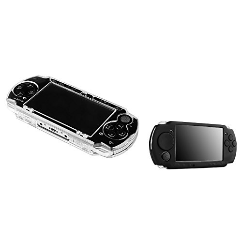 Insten 2 Pack Case Compatible With Sony PSP 2000 3000 - Clear Clip On Crystal Hard Case + Black Soft Silicone Skin Case