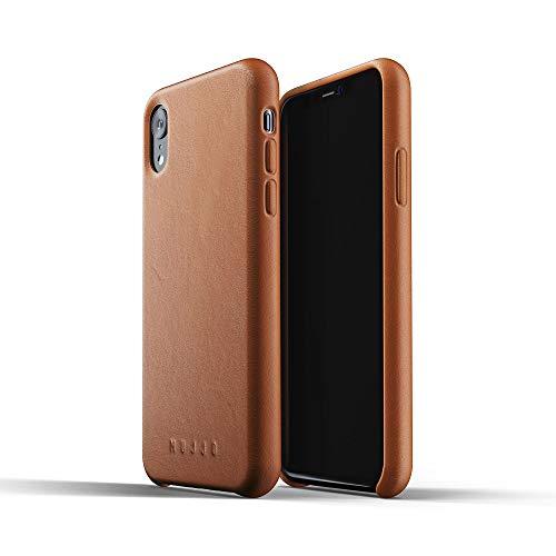 Mujjo MUJJO-CS-105-TN Funda de Cuero Compatible con iPhone XR   Piel auténtica Efecto Envejecido Natural, Botones Cubiertos, Marco Protector de 1mm, Forro de Ante japonés (Cuero)