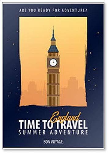 Inglaterra. Time to Travel. Viaje, viaje, vacaciones. Imán clásico para nevera