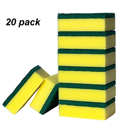 L1 20Pack Double-Face Kitchen Premium Scrub Dishwashing Sponge Clean Abrasive, Strong Absorption Capacity, Multi-Purpose High Foaming Efficiency Cleaning Rag