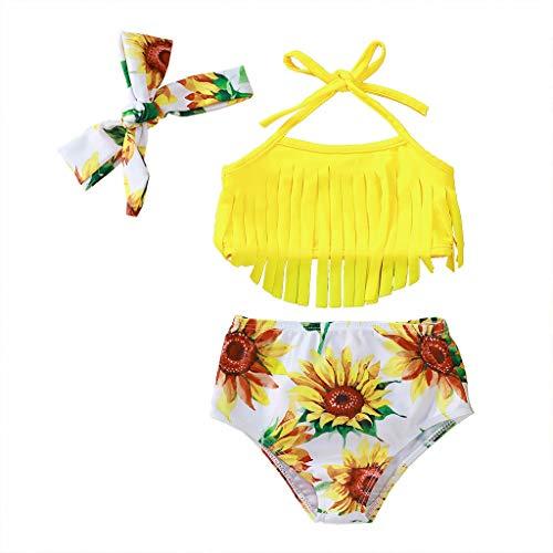 Best Buy! MITCOWBOYS Girls' Baby 2-Piece Swimsuit Tassel Sunflower Halter Bikini Bathing Suit Headba...