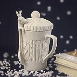 Copa De Vino Para Navidad 3D Amimal Parejas Tazas Con Tapa Cute Milu Deer Coffee Cup Tazas De Leche Snow Ceramic Breakfast Creative Xmas Gift, Type B