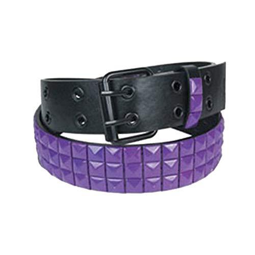 eeddoo zwarte studded riem met studs in paars - 3-rij L [Large]