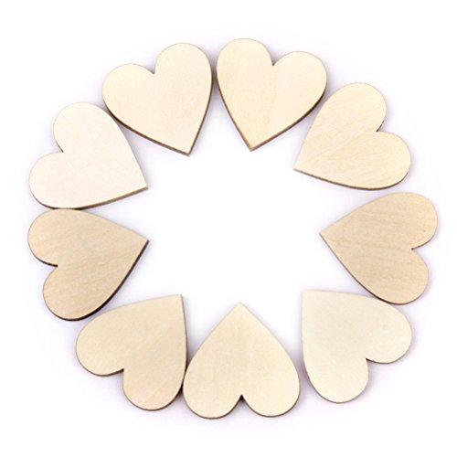 VORCOOL Lot de 50 Coeur en Bois 40mm pour Artisanat Décoration Bricolage