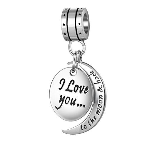 I Love You To The Moon Back charm ciondolo in argento Sterling 925, con pendente a forma di cuore con charm Fit collana bracciali europeo