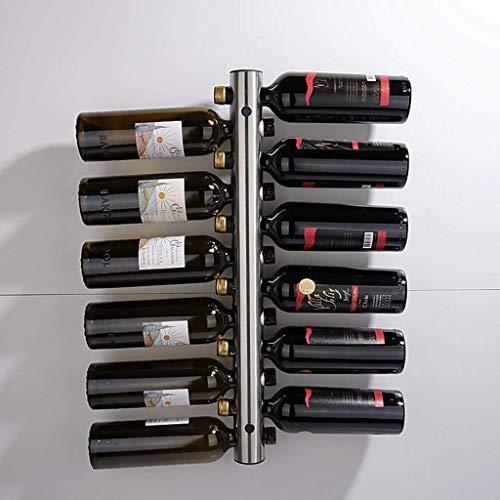 WLABCD Hogar de Vino Hogar Titular Rojo Vino Rack Rack Restaurante Bar Organize Cocina Acero Inoxidable Vintage Vine Botella de Vino Titular Fácil de Poner Cocina Alenamiento de Vino de Pared,12 Hoyo