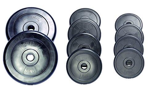 sportplus+ Pesi da 20 kg - Set di 2 x Piastre da 10 kg in Cemento rivestite in Vinile/Dischi da Bilanciere per Body Building e Sollevamento Pesi (25)
