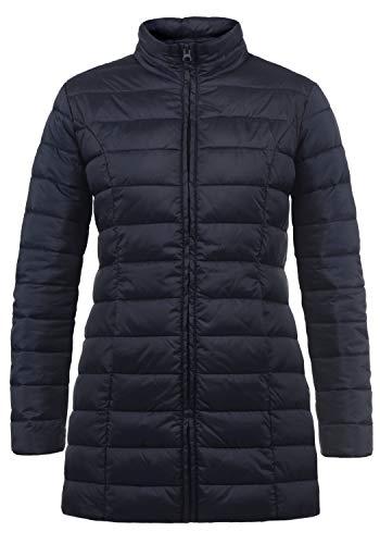 ONLY Britt Damen Steppmantel Übergangsmantel Lange Jacke gefüttert mit Stehkragen, Größe:M, Farbe:Night Sky