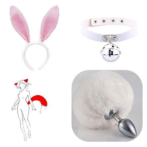 Peluche Clip de pelo con orejas de liebre y cola de bola de pelo B-ütt an-âl Pl-ùg T-ö-ys Disfraz de conejita decora accesorios de entrenamiento de yoga - S
