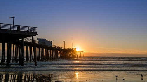 Posterazzi Pismo Beach pier at Sunset San Luis Obispo County California USA Poster Print by Panoramic Images, (24 x 14), Varies