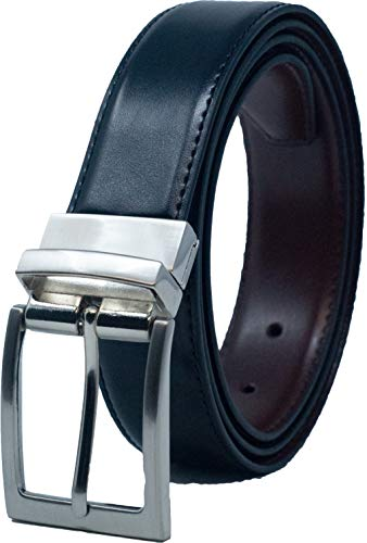 Ashford Ridge 30mm recubierto Reversible cinturón de cuero (Negro/marrón o negro/azul marino - tamaños 80cm - 120cm)