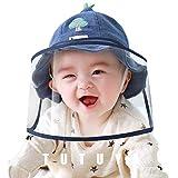 フェイスシールド 赤ちゃん 子供帽子 hat ハット ベビー 外出 女の子 男の子 6ヶ月から3歳まで 取り外し可 ブルー グレー キャップ (ネイビー, 46サイズ)