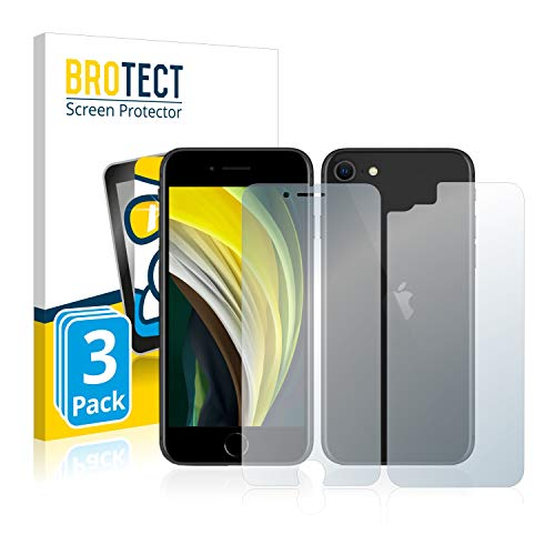 BROTECT Protector Pantalla Cristal Compatible con Apple iPhone SE 2 2020 (Frontal + Trasera) Protector Pantalla Vidrio (3 Unidades) Dureza 9H AirGlass