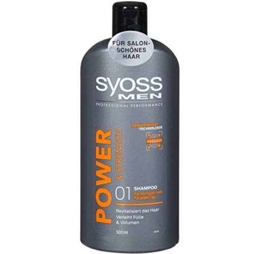 3 x Syoss Men Shampoo - Power & Strength - für normales Haar - 500 ml