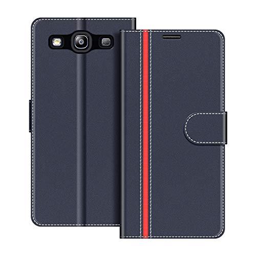 COODIO Handyhülle für Samsung Galaxy S3 Handy Hülle, Samsung Galaxy S3 Hülle Leder Handytasche für Samsung Galaxy S3 / Galaxy S3 Neo Klapphülle Tasche, Dunkel Blau/Rot